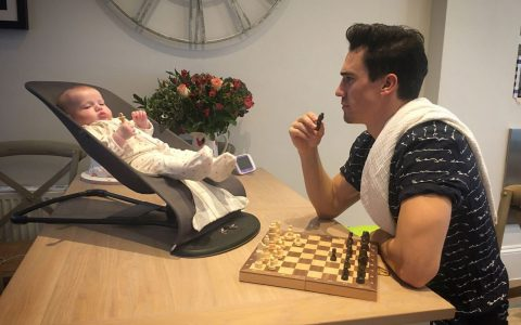 Josh and India playing chess