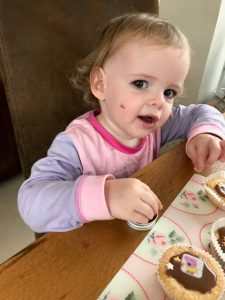 Erin decorating cupcakes - baking with a toddler